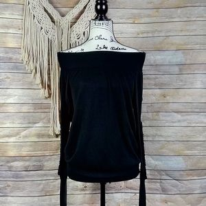 Free People | Black Off-The-Shoulder Sweater Top